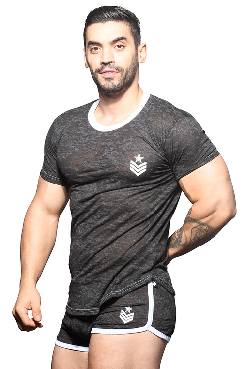 Andrew Christian Burnout Sergeant Tee 10318 - Mens T-Shirts - Side View - Topdrawers Clothing for Men