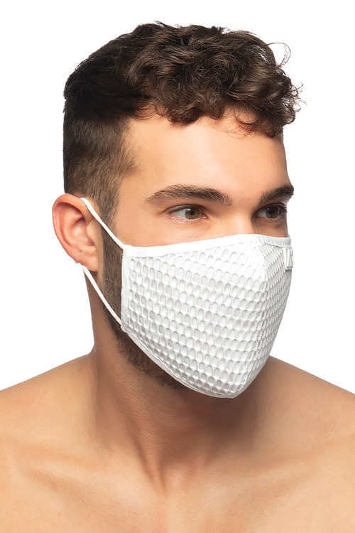 Addicted AD Party Face Mask AC137-01 White - Mens Reusable Face Masks - Side View - Topdrawers Protective Gear for Men