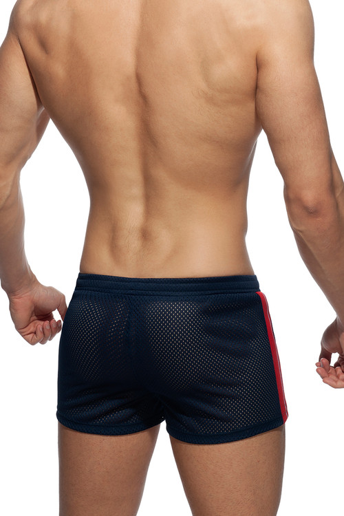 Addicted Waistband Mesh Shorts AD934-09 Navy Blue - Mens Athletic Shorts - Rear View - Topdrawers Clothing for Men