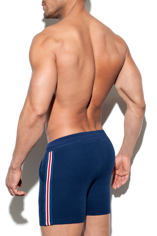 ES Collection Fit Tape Sport Short SP210-09 Navy Blue - Mens Athletic Shorts - Rear View - Topdrawers Clothing for Men