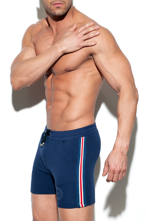 ES Collection Fit Tape Sport Short SP210-09 Navy Blue - Mens Athletic Shorts - Side View - Topdrawers Clothing for Men