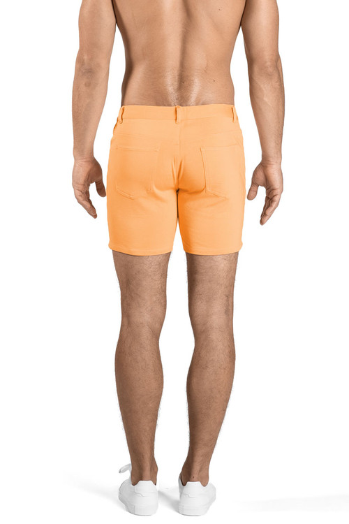 ST33LE Stretch Knit Jeans Shorts   Melon ST-1932-MEL - Mens Shorts - Rear View - Topdrawers Clothing for Men
