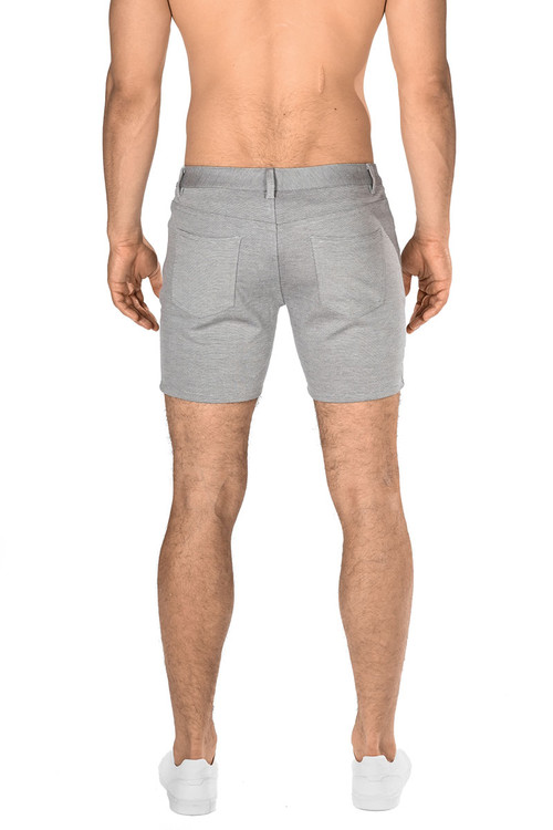 ST33LE Stretch Knit Jeans Shorts   Dove Grey ST-1932-DOVE - Mens Shorts - Rear View - Topdrawers Clothing for Men