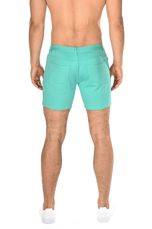 ST33LE Stretch Knit Jeans Shorts | Aqua ST-1932-AQUA - Mens Shorts - Rear View - Topdrawers Clothing for Men