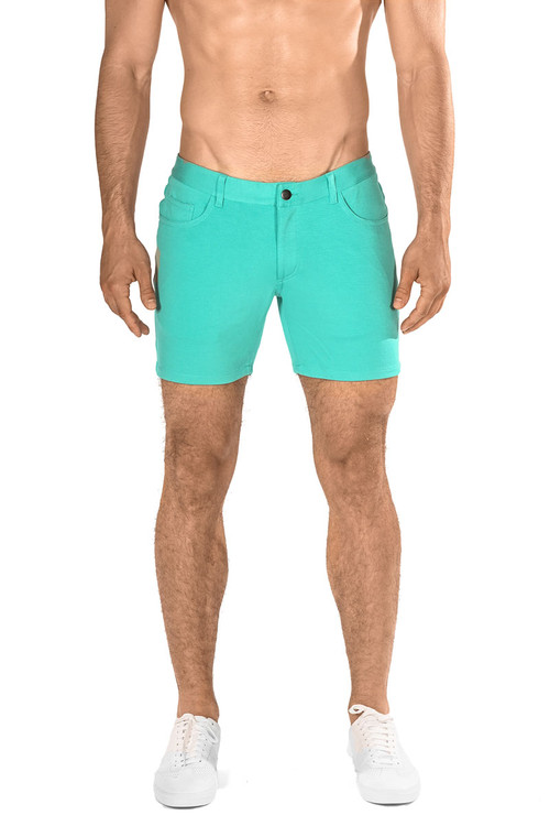 ST33LE Stretch Knit Jeans Shorts | Aqua ST-1932-AQUA - Mens Shorts - Front View - Topdrawers Clothing for Men