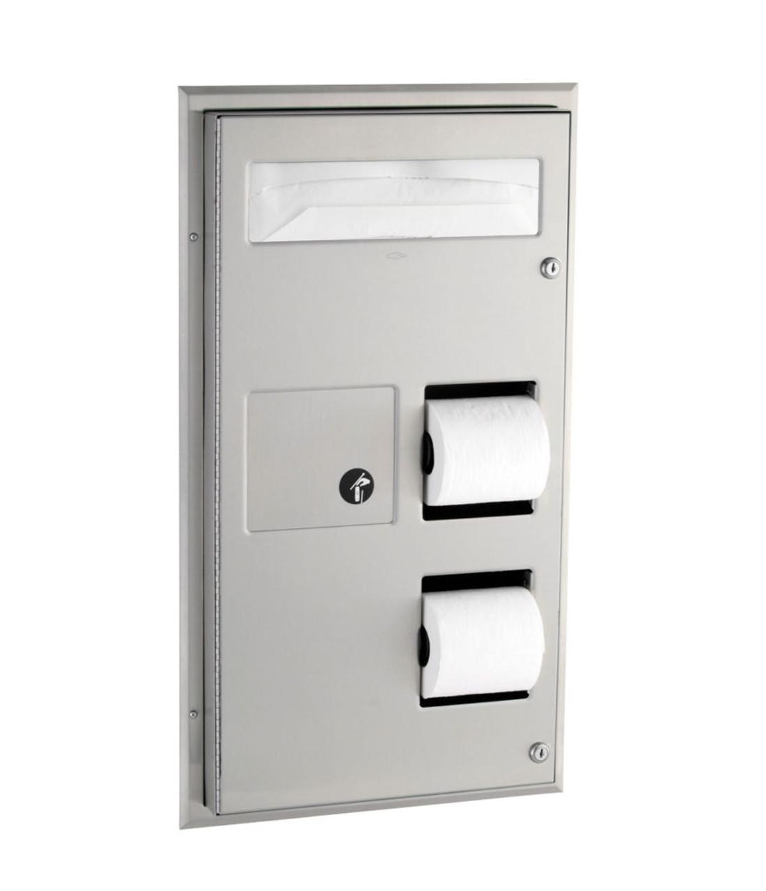 Bobrick B 357 Partition Mounted Seat Cover Dispenser Sanitary Napkin Disposal And Toilet Tissue Dispenser Handy Washroom