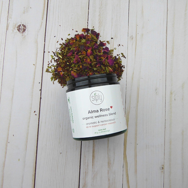 Alma Rose - a caffeine free wellness blend with roses, dandelion, tulsi and rooibos
