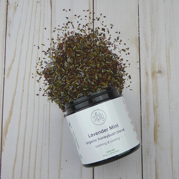 Lavender Mint - a caffeine free blend of French lavender, organic peppermint and honeybush