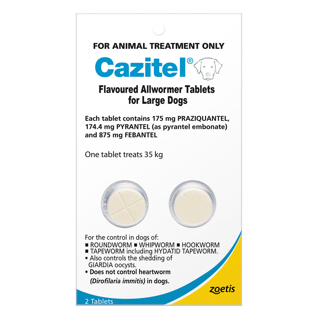 Cazitel Flavored Allwormer Tablets for Large Dogs up to 35 kg -  2 Tablets