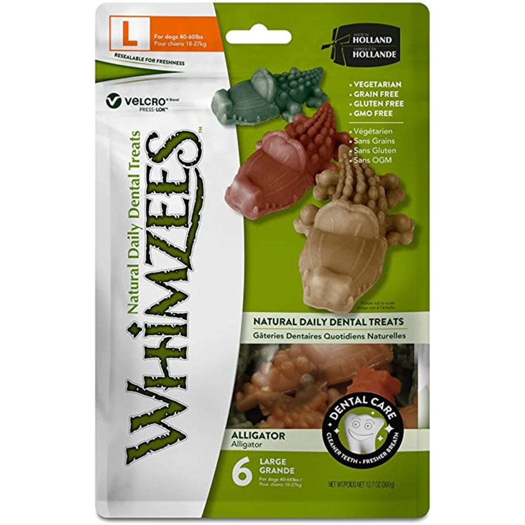 Whimzees Alligator Dog Dental Treats - Large 6pk