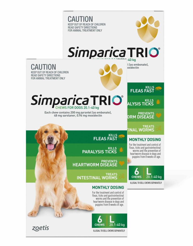 Simparica TRIO Chews for Dogs 20.1-40 kg - Green 12 Chews