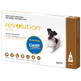 Revolution for Dogs 5.1-10 kg - Brown 3 Pack with Bonus Canex Worming Tablets
