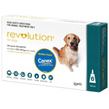 Revolution for Dogs 20.1-40kg - Teal 6 Pack with Bonus Canex Worming Tablets