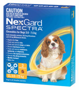 NexGard Spectra Chewables For Small Dogs 3.6-7.5kg - Yellow 3 Pack