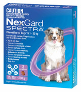 NexGard Spectra Chewables For Large Dogs 15.1-30kg - Purple 3 Pack