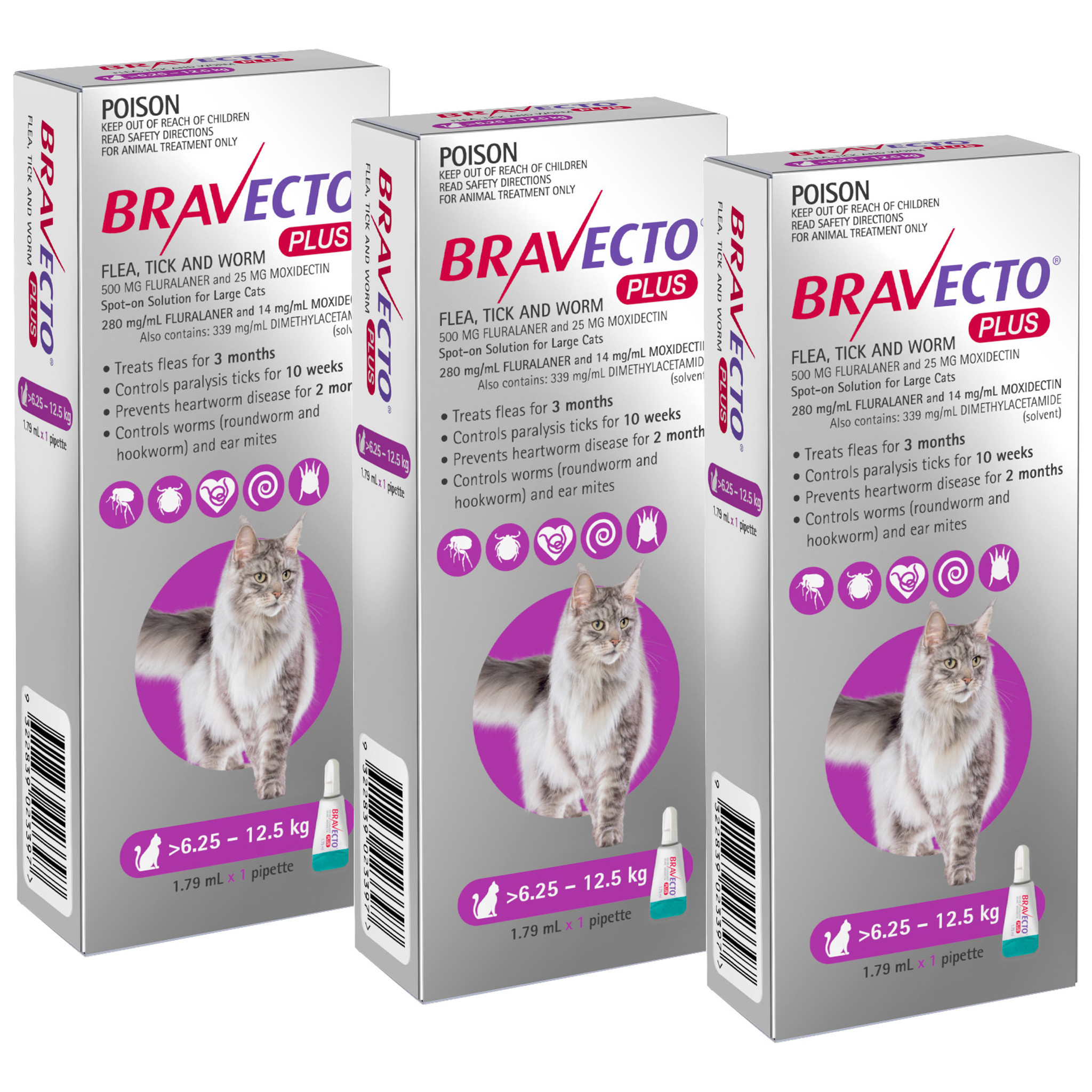 Bravecto Plus Spot On For Cats 6 25 12 5 Kg Purple 3 Doses Sierra Pet Products Australia