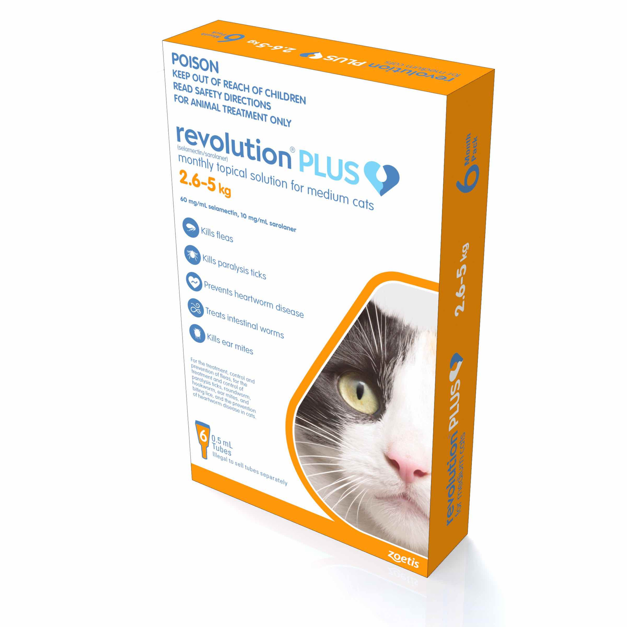 Revolution Plus For Medium Cats 2 5 5kg Orange 6 Doses Sierra Pet Products Australia