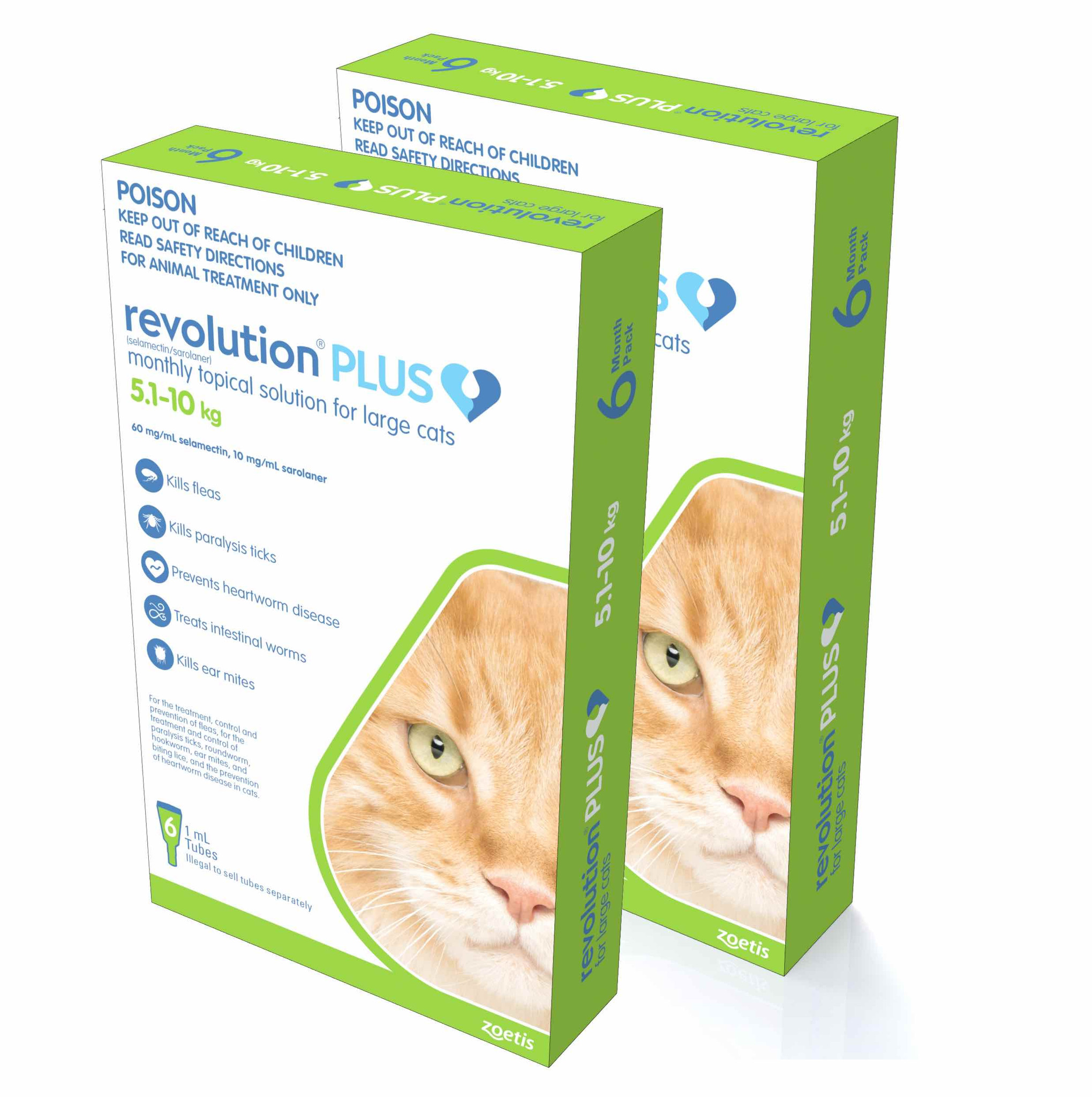 Revolution Plus For Large Cats 5 10kg Green 12 Doses Sierra Pet Products Australia