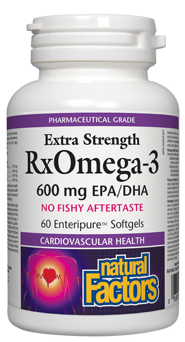 Natural Factors: Rx Omega-3 Factors Extra Strength (600 mg EPA/DHA) (60 SoftGels)