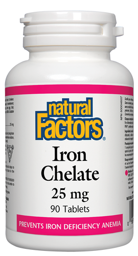 Natural Factors: Iron Chelate (25mg) (90 Tablets)