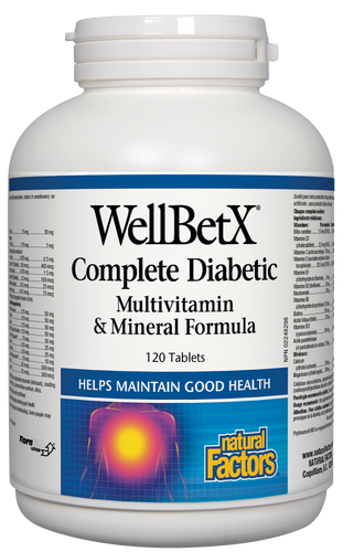 Natural Factors: WellBetX Complete Diabetic MultiVitamin & Mineral (120 Tablets)