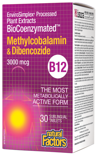Natural Factors: BioCoenzymated Methylcobalamin B12 & Dibencozide (3000 mcg) (30 Sublingual Tablets)