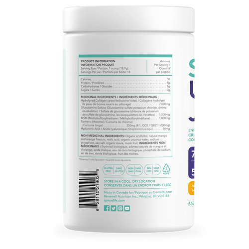 Sproos: Up Your Joints Collagen - Mango Turmeric (337g)