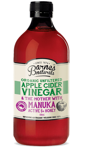 Barnes Naturals: Organic Unfiltered Apple Cider Vinegar and The Mother with Manuka Honey (500ml)