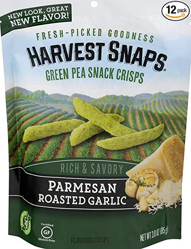 Harvest Snaps: Green Pea Snacks in Parmesan Roasted Garlic (85g)