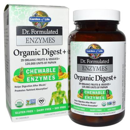 Dr. Formulated Enzymes Organic Digest+ Tropical Fruit (90 ChewTab)