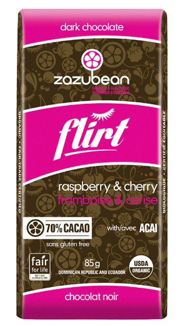 Zazubean Flirt Raspberry & Cherry Dark Chocolate Bar (85g)