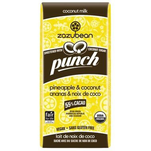 Zazubean Punch Pineapple & Coconut Chocolate Bar (85g)