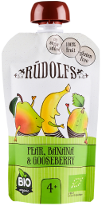 Rudolfs: Organic Pear, Banana & Gooseberry Puree