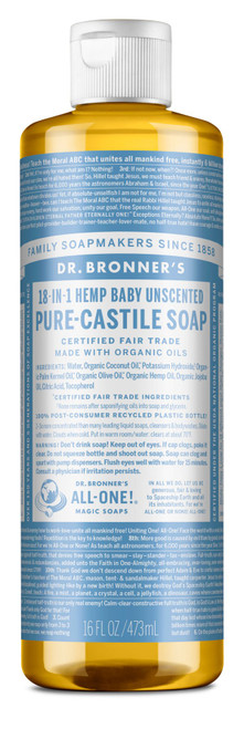 Dr. Bronner's Magic Soap: 18 in 1 Castile Liquid Soap - Unscented Baby (473ml)