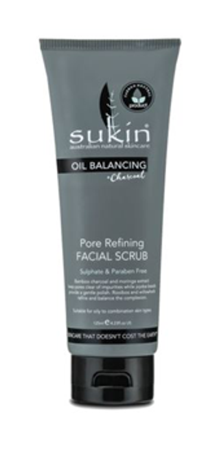 Sukin: Oil Balancing & Charcoal Pore Refining Facial Scrub (125ml)