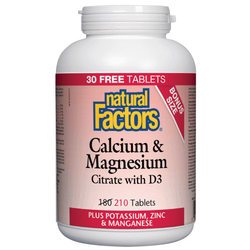 Natural Factors: Calcium & Magnesium Citrate 1:1 with D (Bonus Size) (210 Tablets)