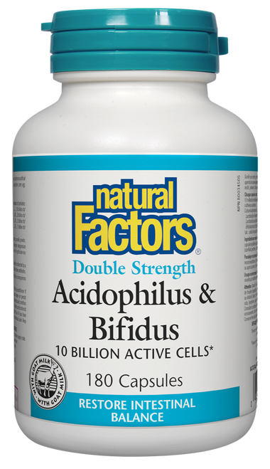 Natural Factors: Double Strength Acidophilus & Bifidus 10 Billion (180 Capsules)