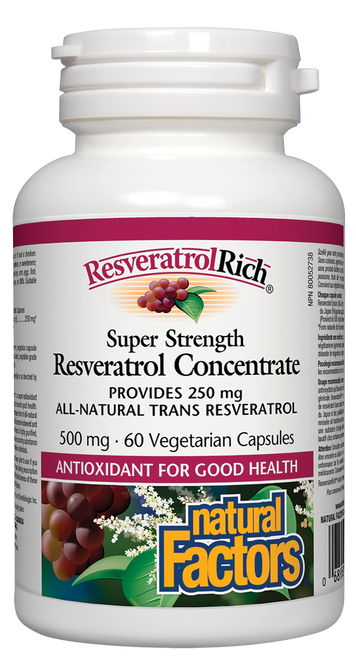Natural Factors: ResveratrolRich Super Strength Resveratrol Concentrate (60 Vegetarian Capsules)
