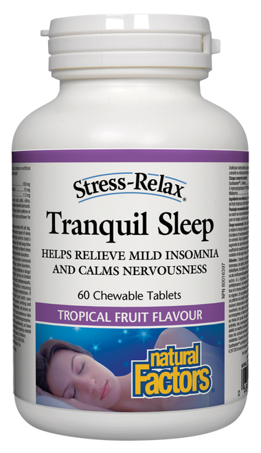 Natural Factors: Stress-Tranquil Sleep Tropical Fruit Flavour (60 Chewable Tablets)