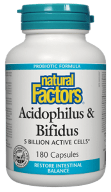 Natural Factors: Acidophilus & Bifidus (180 Capsules)