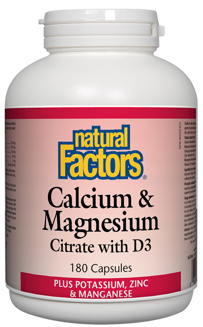 Natural Factors: Calcium & Magnesium Citrate with D (180 Capsules)