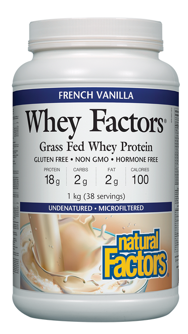 Natural Factors: Whey Factors Grass Fed Whey Protein - French Vanilla (1kg)