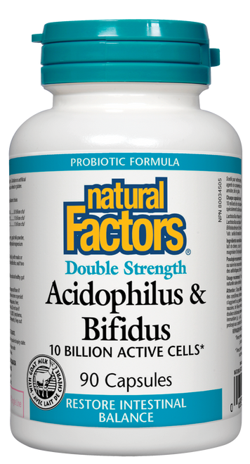 Natural Factors: Acidophilus & Bifidus Double Strength (90 Capsules)