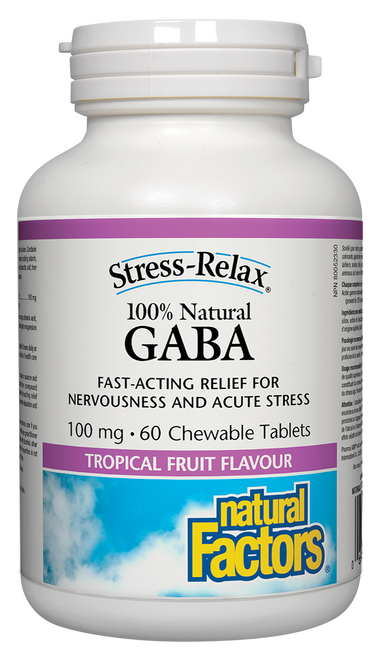 Natural Factors: Stress-Relax GABA (100 mg) Tropical Fruit Flavour (60 Chewable Tablets)