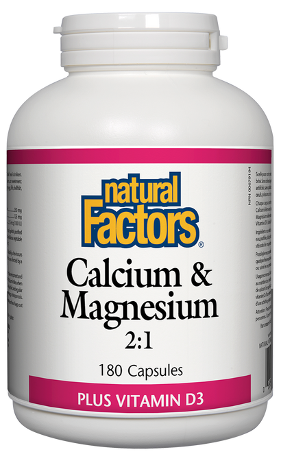 Natural Factors: Calcium & Magnesium 2:1 (180 Capsules)