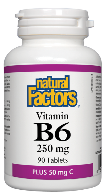 Natural Factors: B-6 Pyridoxine (250mg with 50mg C) (90 Tablets)