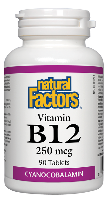 Natural Factors: B-12 Cyanocobalamin (250 mcg) (90 Tablets)