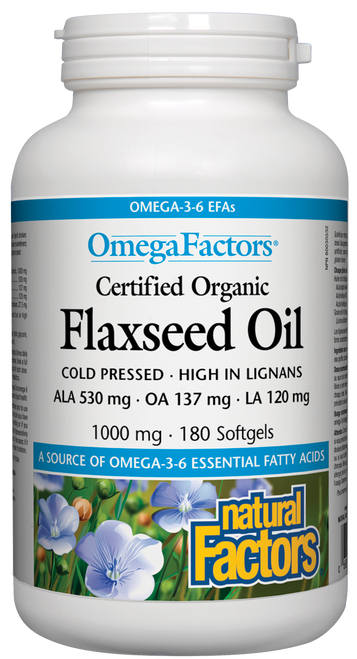 Natural Factors: Flaxseed Oil (1000mg) (180 SoftGels)