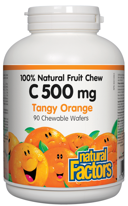 Natural Factors: Vitamin C Natural Fruit Chews - Tangy Orange (500mg) (90 Chewables)