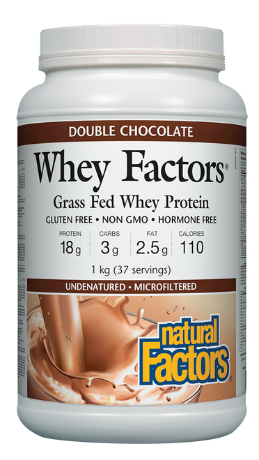 Natural Factors: Whey Factors Grass Fed Whey Protein - Double Chocolate (1kg)